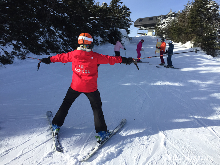 Coach Amy Macy running drills at Stratton Mountain Resort in Vermont