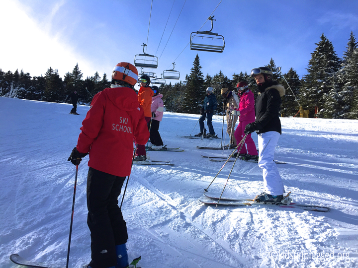 Running drills during Stratton Mountain Resort's Women on Snow Camp